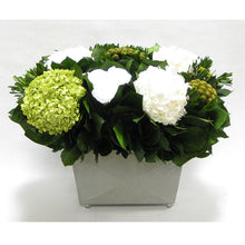Load image into Gallery viewer, Pewter Metal Rect Container - Roses White, Brunia Yellow & Hydrangea Basil and White