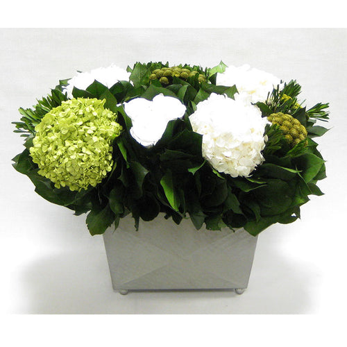 Pewter Metal Rect Container - Roses White, Brunia Yellow & Hydrangea Basil and White