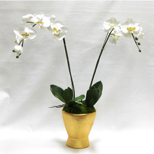 Load image into Gallery viewer, Resin Container Small Gold Leaf - White & Yellow Orchid Artificial