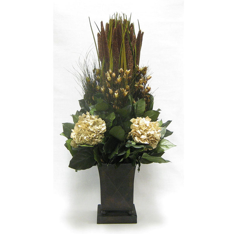 Copper Tall Container - Pensularia Brown & Hydrangea Ivory