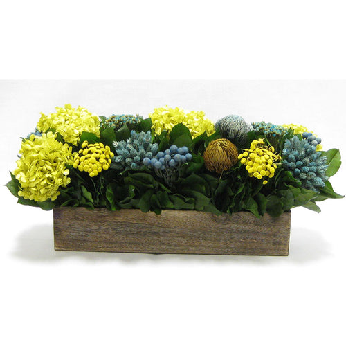 Wooden Long Container Brown Stain - Blue/Yellow Multicolor w/ Banksia, Brunia, Pharalis & Hydrangea Basil..