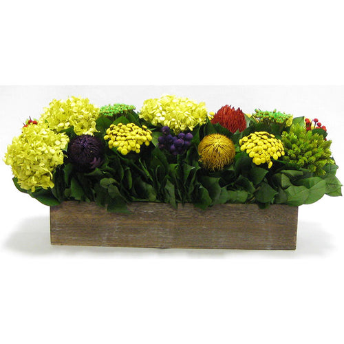 Wooden Long Container Brown Stain - Multicolor w/ Banksia, Brunia, Pharalis & Hydrangea Basil..