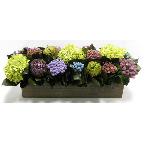 Wooden Long Container Brown Stain - Violet Multicolor w/ Banksia, Brunia, Pharalis & Hydrangea Basil..