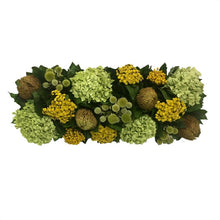 Load image into Gallery viewer, [WC20GN-ECCHDB] Wooden Long Rect Container Antique Green Stain - Echinops Chartreuse, Buttons Yellow & Hydrangea Basil