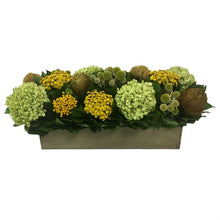Load image into Gallery viewer, Wooden Long Rect Container Antique Green Stain - Echinops Chartreuse, Buttons Yellow & Hydrangea Basil