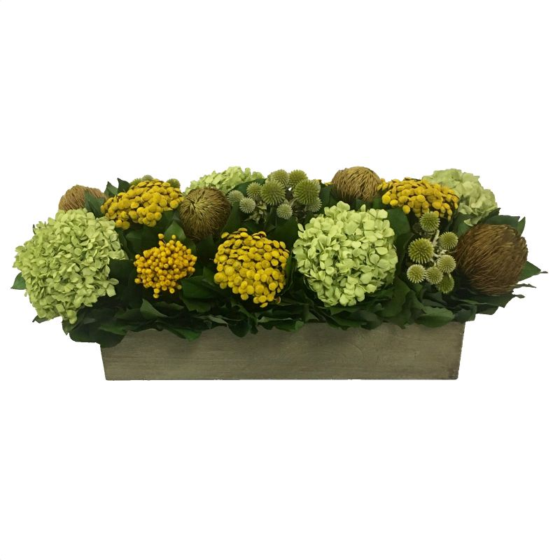 Wooden Long Rect Container Antique Green Stain - Echinops Chartreuse, Buttons Yellow & Hydrangea Basil
