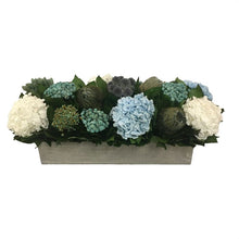 Load image into Gallery viewer, Wooden Long Rect Container Antique Grey Stain - Echinops, Buttons Blue & Hydrangea Ice Blue & White