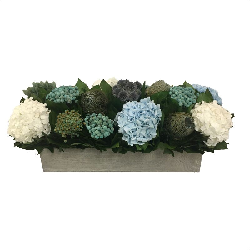 Wooden Long Rect Container Antique Grey Stain - Echinops, Buttons Blue & Hydrangea Ice Blue & White