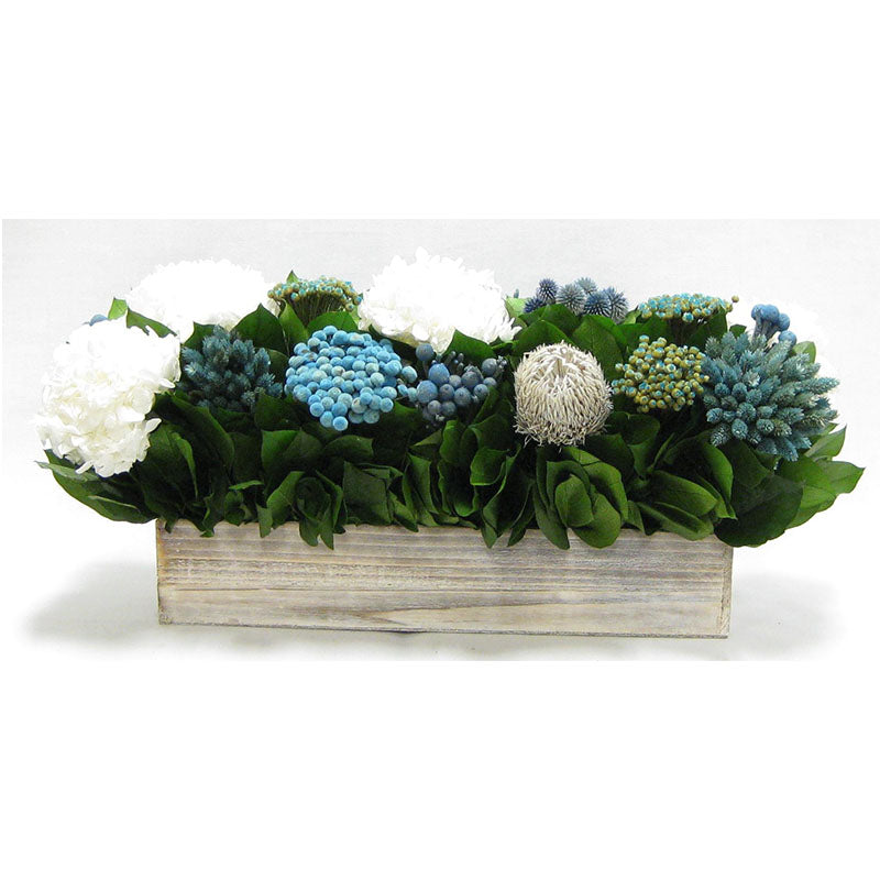 Wooden Long Container Whitewash Stain  - Echinops w/ Banksia, Brunia, Pharalis & Hydrangea White..