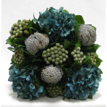 Load image into Gallery viewer, [WC5B-BKBRHDNB] Wooden Cube Container Brown Stain - Banksia Lt Grey, Brunia Nat & Hydrangea Natural Blue
