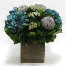 Load image into Gallery viewer, Wooden Cube Container Brown Stain - Banksia Lt Grey, Brunia Nat & Hydrangea Natural Blue