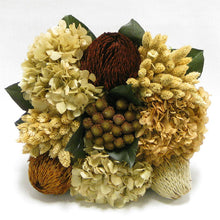 Load image into Gallery viewer, [WC5B-MLBNIX] Wooden Cube Container Brown Stain - Brown & Natural Banksia, Brunia, Pharalis & Hydrangea Ivory & Light Brown..
