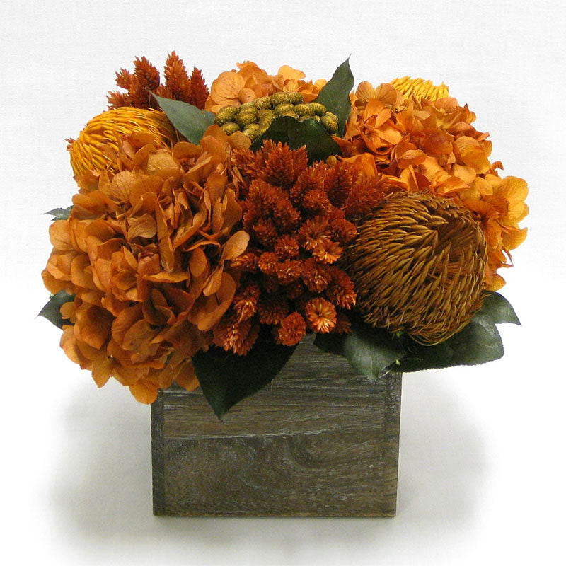 Wooden Cube Container Brown Stain - Terracotta Banksia, Brunia, Pharalis & Hydrangea Rust Brown..