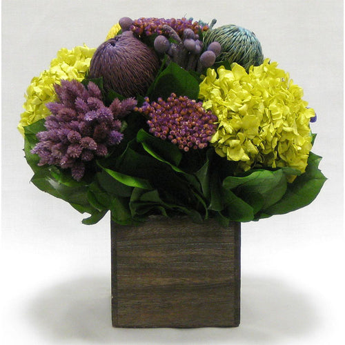 Wooden Cube Container Brown Stain - Violet Multicolor w/ Banksia, Brunia, Pharalis & Hydrangea Basil....