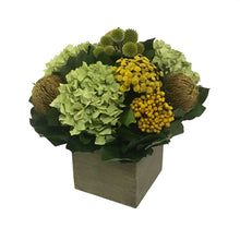 Load image into Gallery viewer, [WC5GN-ECCHDB] Wooden Cube Container Antique Green Stain - Echinops Chartreuse, Buttons Yellow & Hydrangea Basil