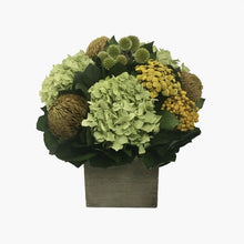 Load image into Gallery viewer, Wooden Cube Container Antique Green Stain - Echinops Chartreuse, Buttons Yellow & Hydrangea Basil