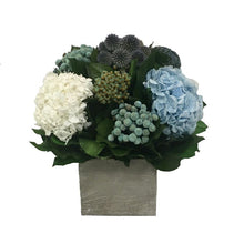 Load image into Gallery viewer, Wooden Cube Container Antique Grey Stain - Echinops, Buttons Blue & Hydrangea Ice Blue & White