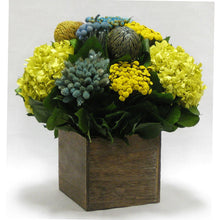 Load image into Gallery viewer, [WC6B-MLBLYE] Wooden Cube Container Brown Stain  - Blue/Yellow Multicolor w/ Banksia, Brunia, Pharalis & Hydrangea Basil..