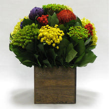 Load image into Gallery viewer, Wooden Cube Container Brown Stain - Multicolor w/ Banksia, Brunia, Pharalis & Hydrangea Basil..