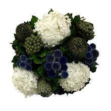 Load image into Gallery viewer, [WC6G-ECBHDW] Wooden Cube Container Grey Stain - Echinops Dark Blue, Banksia Blue & Hydrangea White