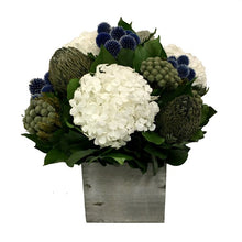 Load image into Gallery viewer, Wooden Cube Container Grey Stain - Echinops Dark Blue, Banksia Blue & Hydrangea White