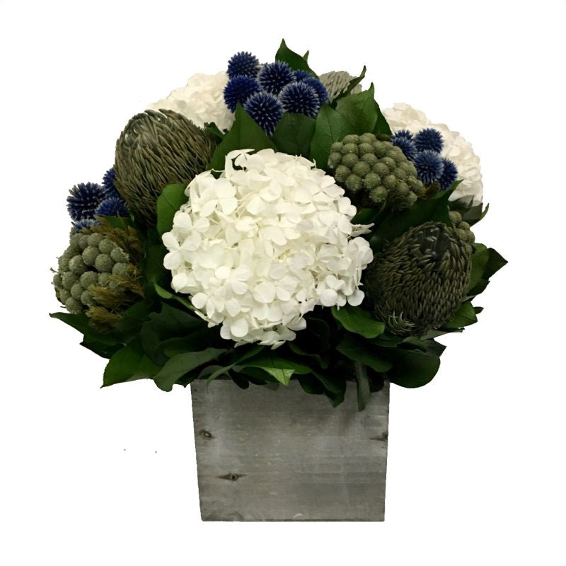 Wooden Cube Container Grey Stain - Echinops Dark Blue, Banksia Blue & Hydrangea White