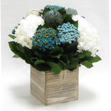 Load image into Gallery viewer, Wooden Cube Container Whitewash Stain - Echinops w/ Banksia, Brunia, Pharalis & Hydrangea White..
