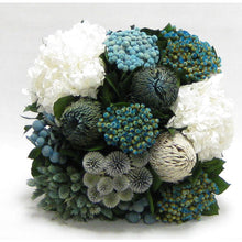 Load image into Gallery viewer, [WC6W-ECHDW] Wooden Cube Container Whitewash Stain - Echinops w/ Banksia, Brunia, Pharalis & Hydrangea White..