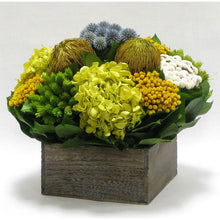 Load image into Gallery viewer, [WC73B-ECHDB] Wooden Short Container Brown Stain - Echinops w/ Banksia, Brunia, Pharalis & Hydrangea Basil..