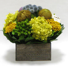 Load image into Gallery viewer, Wooden Short Container Brown Stain - Echinops w/ Banksia, Brunia, Pharalis & Hydrangea Basil..