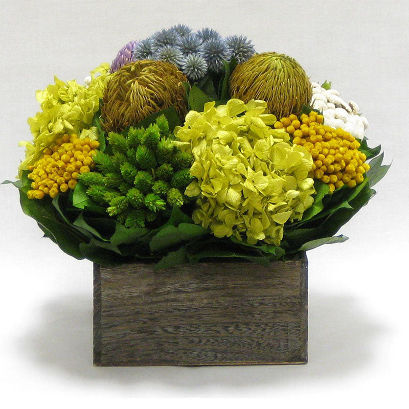 Wooden Short Container Brown Stain - Echinops w/ Banksia, Brunia, Pharalis & Hydrangea Basil..