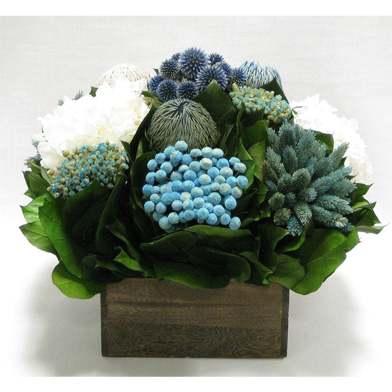 Wooden Short Container Brown Stain - Echinops w/ Banksia, Brunia, Pharalis & Hydrangea White..