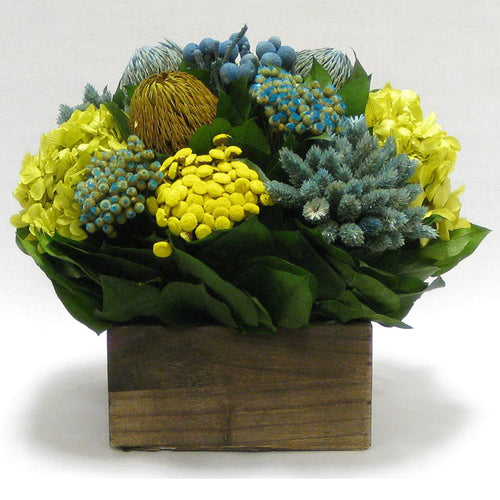 Wooden Short Container Brown Stain - Blue/Yellow Multicolor w/ Banksia, Brunia, Pharalis & Hydrangea Basil..
