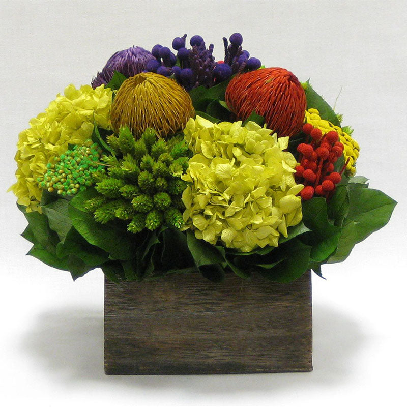 Wooden Short Container Brown Stain - Multicolor w/ Banksia, Brunia, Pharalis & Hydrangea Basil..