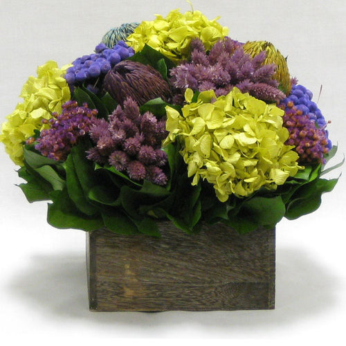 Wooden Short Container Brown Stain - Violet Multicolor w/ Banksia, Brunia, Pharalis & Hydrangea Basil..