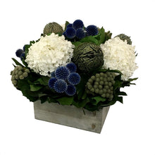 Load image into Gallery viewer, [WC73G-ECBHDW] Wooden Short Container Grey Stain - Echinops Dark Blue, Banksia Blue & Hydrangea White