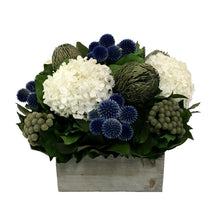 Load image into Gallery viewer, Wooden Short Container Grey Stain - Echinops Dark Blue, Banksia Blue & Hydrangea White