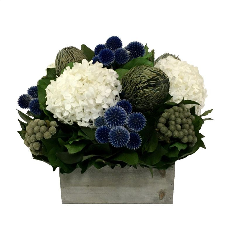 Wooden Short Container Grey Stain - Echinops Dark Blue, Banksia Blue & Hydrangea White