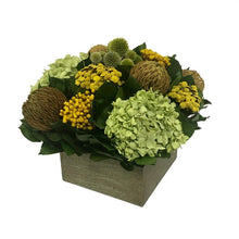 Load image into Gallery viewer, [WC73GN-ECCHDB] Wooden Short Container Antique Green Stain - Echinops Chartreuse, Buttons Yellow & Hydrangea Basil