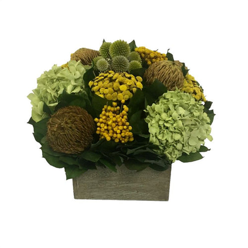 Wooden Short Container Antique Green Stain - Echinops Chartreuse, Buttons Yellow & Hydrangea Basil