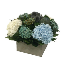 Load image into Gallery viewer, [WC73GY-ECHDIB] Wooden Short Container Antique Grey Stain - Echinops, Buttons Blue & Hydrangea Ice Blue & White