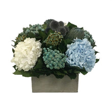 Load image into Gallery viewer, Wooden Short Container Antique Grey Stain - Echinops, Buttons Blue & Hydrangea Ice Blue & White