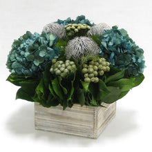 Load image into Gallery viewer, [WC73W-BKBRHDNB] Wooden Short Container Whitewash Stain - Banksia Gray, Brunia Natural & Hydrangea Natural Blue