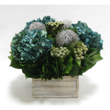 Load image into Gallery viewer, Wooden Short Container Whitewash Stain - Banksia Gray, Brunia Natural & Hydrangea Natural Blue