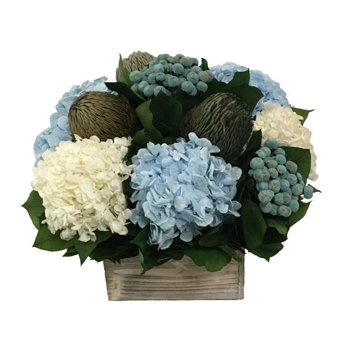 Wooden Short Container White Wash - Banksia Blue, Hydrangea Ice Blue & White