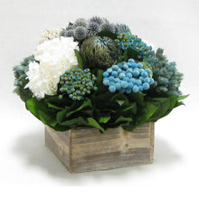 Load image into Gallery viewer, [WC73W-ECHDW] Wooden Short Container Whitewash Stain - Echinops w/ Banksia, Brunia, Pharalis & Hydrangea White..