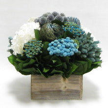 Load image into Gallery viewer, Wooden Short Container Whitewash Stain - Echinops w/ Banksia, Brunia, Pharalis & Hydrangea White..