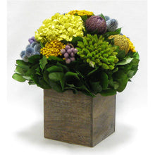 Load image into Gallery viewer, [WC7B-ECHDB] Wooden Cube Container Brown Stain  - Echinops w/ Banksia, Brunia, Pharalis & Hydrangea Basil..