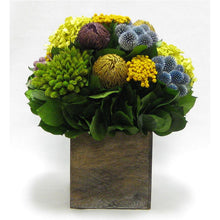 Load image into Gallery viewer, Wooden Cube Container Brown Stain  - Echinops w/ Banksia, Brunia, Pharalis & Hydrangea Basil..