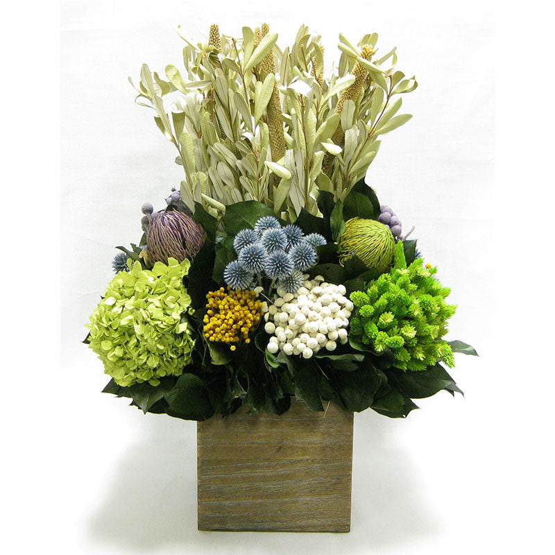 Wooden Cube Container Brown Stain - Integ, Echinops, Banksia, Brunia, Pharalis & Hydrangea Basil..